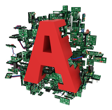 electronic elements: Big alphabet letter, with electronic circuit elements, isolated, 3d illustration