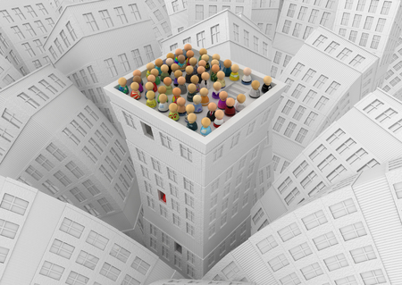 staffing: Crowd of small symbolic figures, white city building roof top, 3d illustration, horizontal Stock Photo