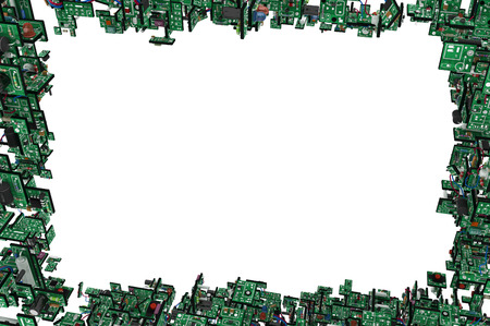 over white: Electronic circuit elements frame complex 3d illustration, horizontal, over white