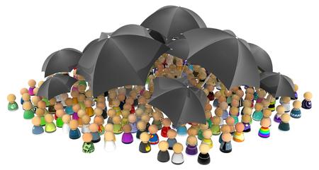 company secrets: Crowd of small symbolic figures, with black umbrellas, 3d illustration, horizontal