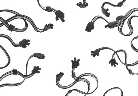 Electronic black wired arms extending, isolated, 3d illustration, horizontal