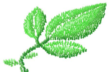 Crowd of small symbolic figures, green leaf shape, 3d illustration, horizontal Stock Photo