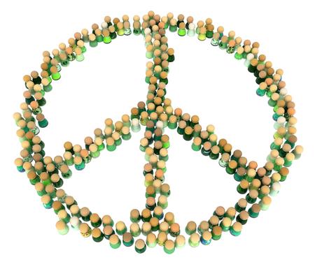 harmless: Crowd of small symbolic figures, peace symbol shape, 3d illustration, horizontal