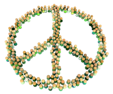Crowd of small symbolic figures, peace symbol shape, 3d illustration, horizontal