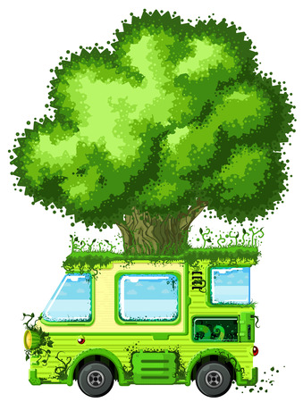 compatibility: Tree vehicle ecology cartoon design element, isolated vector