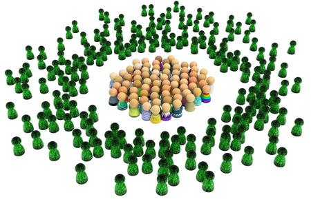 intimidating: Crowd of small symbolic figures, virtual characters, 3d illustration, isolated, horizontal Stock Photo