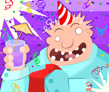 immoral: Cartoon character party toast, vector illustration, horizontal Illustration