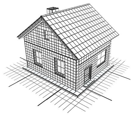 Huisblauwdruk ontwerp, zwart en wit, geïsoleerde, 3D-afbeelding, horizontaal