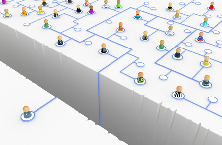 Crowd of small symbolic figures linked by lines, 3d illustration, horizontal