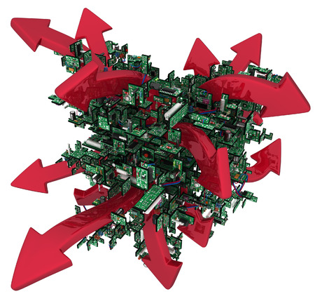 unruly: Electronic circuit red arrows abstract, over white, 3d illustration