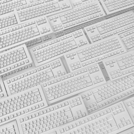 keyboards: Computer keyboards many white models background, 3d illustration Stock Photo