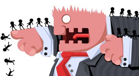 Cartoon character boss commanding, vector illustration, horizontal, isolated, over white
