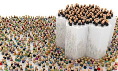 clique: Crowd of small symbolic figures, elevated group, 3d illustration, horizontal