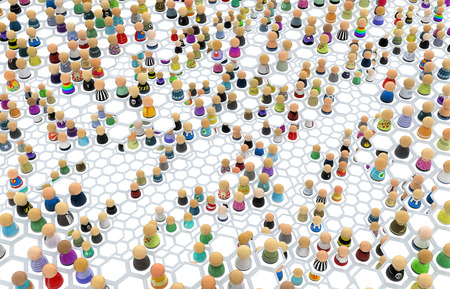 misleading: Crowd of small symbolic figures, linked hexagon cells, 3d illustration, horizontal