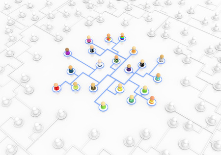 unnamed: Crowd of small symbolic figures, network unique, 3d illustration, horizontal Stock Photo