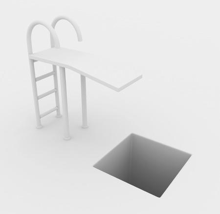 pitfall: Springboard drop pitfall white abstract, horizontal, 3d illustration