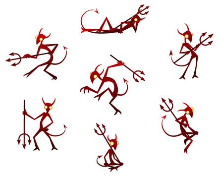 sinful: Cartoon devil character Halloween design element set, vector illustration, horizontal, isolated, over white