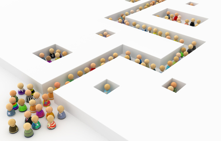cramped: Crowd of small symbolic figures white corridor, 3d illustration, horizontal Stock Photo