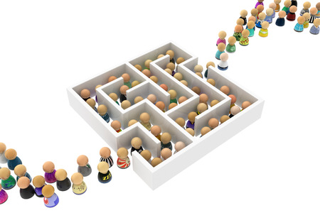 complicated journey: Crowd of small symbolic figures white labyrinth, 3d illustration, horizontal