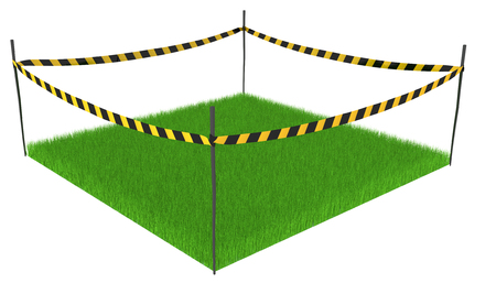 cordoned: Green grass lawn square cordoned off, 3d illustration, horizontal, isolated