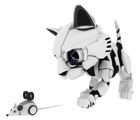pursue: Robotic kitten with mouse 3d illustration, horizontal, isolated Stock Photo