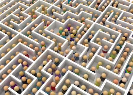 bureaucracy: Crowd of small symbolic figures white labyrinth, 3d illustration, horizontal