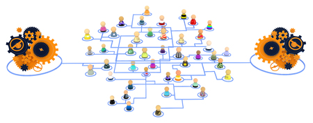 automate: Group of small symbolic figures linked by lines, 3d illustration, isolated, horizontal