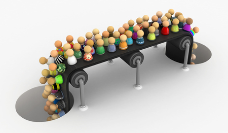 Crowd of small symbolic figures conveyor, 3d illustration, horizontal Stock Photo