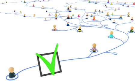 Group of small symbolic figures linked by lines, 3d illustration, isolated, horizontal