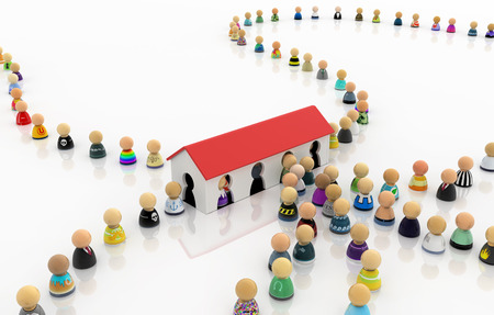 Crowd of small symbolic figures entry house, 3d illustration, horizontal Archivio Fotografico