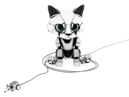 cable tangle: Robotic kitten with wired mouse, 3d illustration, horizontal, isolated