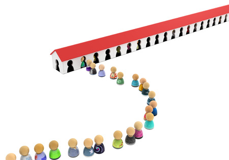 rows: Crowd of small symbolic figures entry house, 3d illustration, horizontal Stock Photo