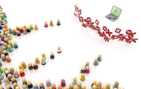 closed community: Crowd of small symbolic figures, laptop restricted, 3d illustration, horizontal Stock Photo
