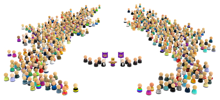Crowd of small symbolic figures with king, 3d illustration, horizontal Stock Photo