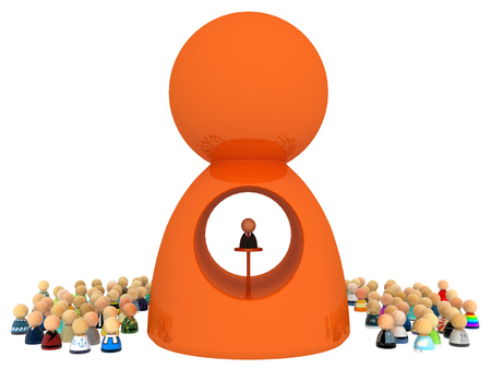 famous people: Crowd of small symbolic figures with big figure, 3d illustration, horizontal