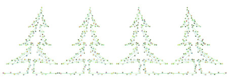fir trees: Group of small symbolic figures linked by lines, fir trees shape, 3d illustration, isolated, horizontal