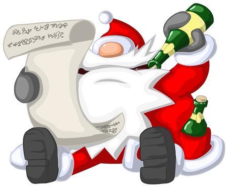 humorous: Santa Claus reading, Christmas party celebration humorous cartoon, vector, isolated Illustration