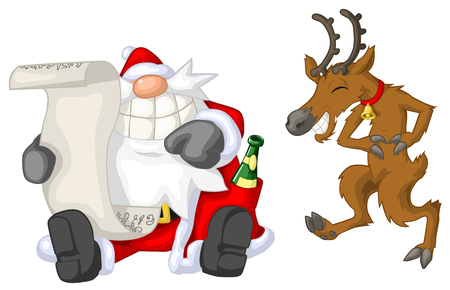 humorous: Santa Claus and reindeer reading, Christmas party celebration humorous cartoon, vector, isolated