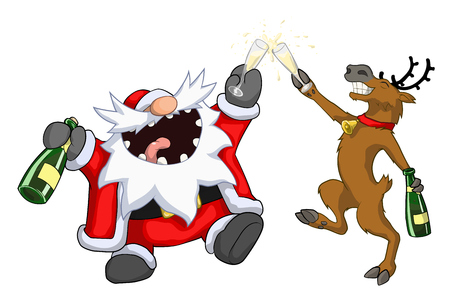 humorous: Santa Claus and reindeer raising glasses toast, Christmas party celebration humorous cartoon, vector, isolated