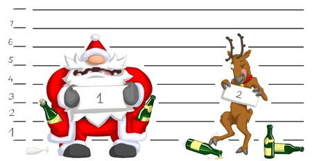 Santa Claus and reindeer drunk police lineup, Christmas party celebration humorous cartoon, vector, isolated