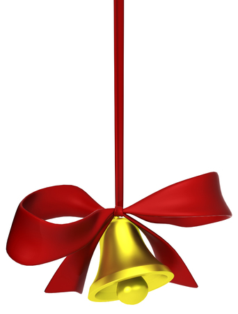 Bell with red ribbon tied bow 3d illustration, isolated, vertical, over white