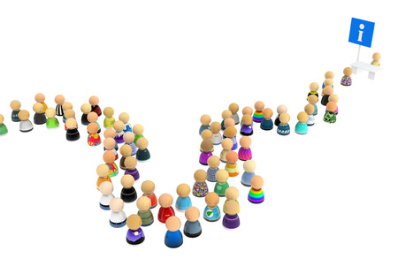 Crowd of small symbolic figures with info booth 3d illustration, isolated, horizontal, over white Stock Photo