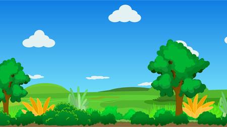grass land: Landscape cartoon nature background, vector illustration, horizontal