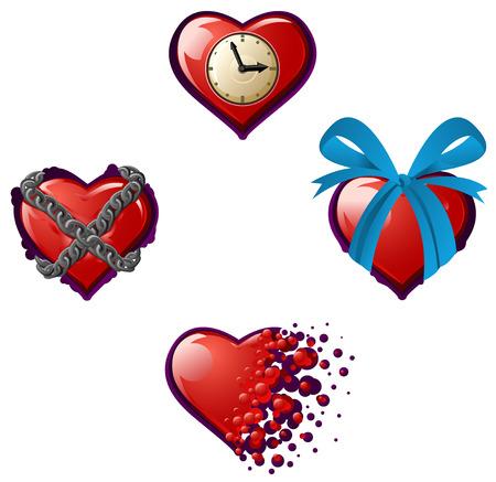 over white: Valentine cartoon heart icon set, vector illustration, isolated, over white Illustration