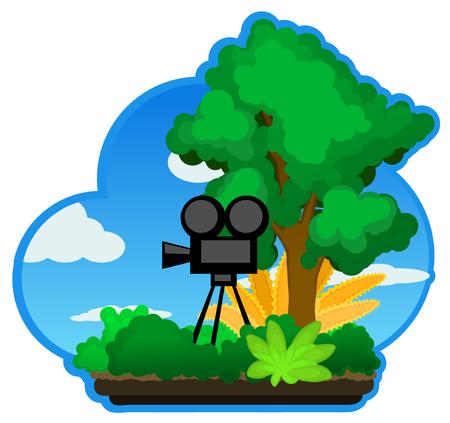 Landscape cartoon nature camera.