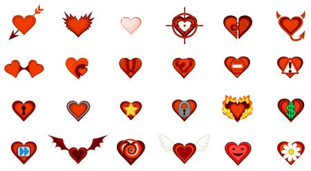 Valentine cartoon small heart symbol set.