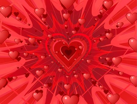 blow up: Valentine hearts abstract background splash.