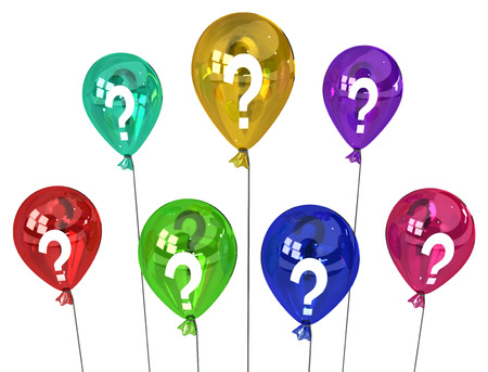 light circular: Color party question balloons group inflated, 3d illustration, horizontal