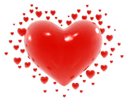 multiple objects: Symbol red hearts, valentine 3d illustration, isolated, horizontal, over white