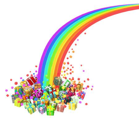 Gift large group 3d illustration, rainbow end, horizontal, isolated, over white Stock Photo